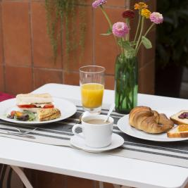 Breakfast for two on a terrace