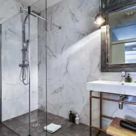 Bathroom with shower of a hotel in Barcelona